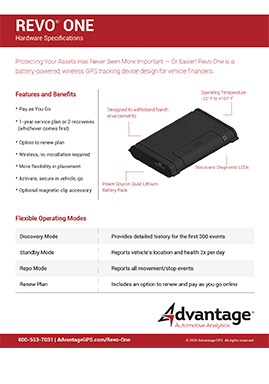 Revo One Hardware Specifications - Advantage GPS